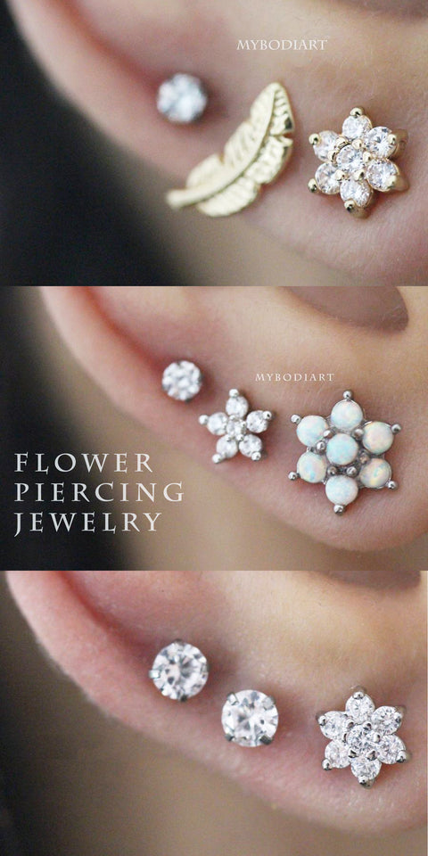 Beautiful Cute Triple Crystal Earring Ear Piercing Jewelry Ideas for Women  -  lindas ideas de joyas para mujeres - www.MyBodiArt.com