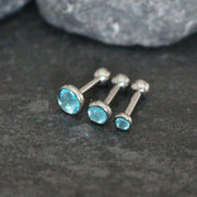 Blue Crystal Ear Piercing Jewelry Ideas at MyBodiart.com - Cartilage Stud, Tragus Earring, Triple Forward Helix Piercings