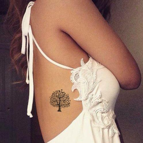 womens enchanted forest tree temporary tattoo set for rib