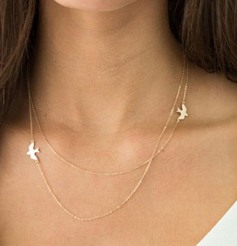 Dainty Minimalist Simple Sparrow Necklace in Gold Choker - www.MyBodiArt.com