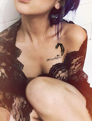 Unique Feather Script Love Quotes Collar Bone Tattoo Ideas for Women at MyBodiArt.com