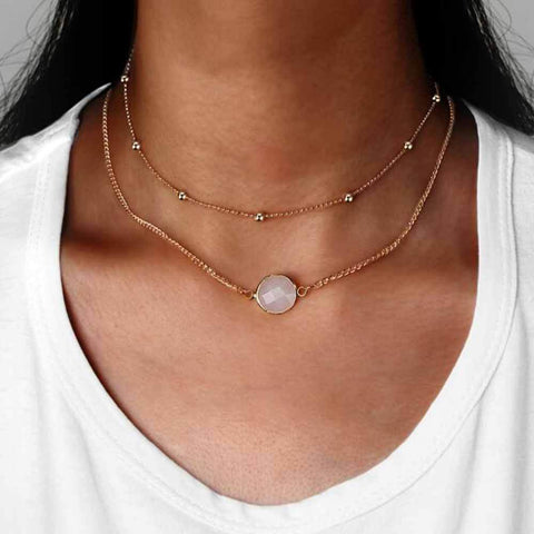 Opal Double Layered Gold Necklace at MyBodiArt.com