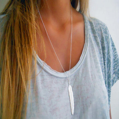 Boho Long Layering Feather Necklace Bohemian Statement Choker in Gold or Silver - www.MyBodiArt.com
