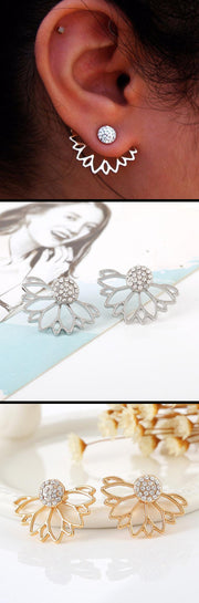 cute crystal flower statement earrings ear jacket studs handmade for teens - www.MyBodiArt.com
