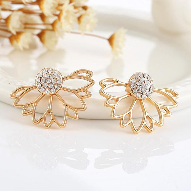 Fleurlise Crystal Floral Flower Ear Jacket Earring in Silver or Gold at MyBodiArt.com