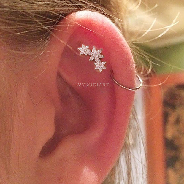 Simple Flower Crystal Cartilage Helix Ear Piercing Jewelry Ideas for Women - www.MyBodiArt.com #earrings
