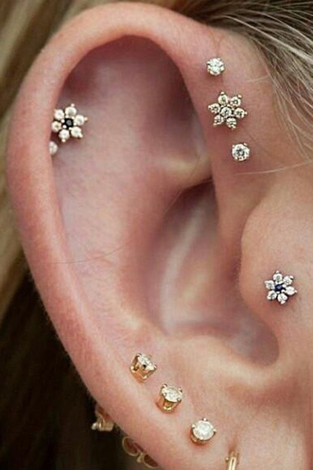 Cute Multiple Ear Piercing Ideas for Teens Triple Forward Helix Stud Earrings Tragus Jewelry - www.MyBodiArt.com