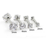 Gemina Double Crystal Ear Piercing Stud for Cartilage Helix Tragus in Gold or Silver 16G - MyBodiArt.com