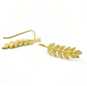 Kate Leaf Simple Ear Climber Cuff in Gold - MyBodiArt.com