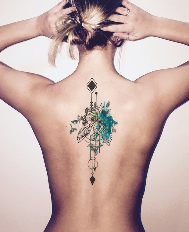 Cool Watercolor Back Tattoo Ideas for Women - Arrow Bird Spine Tat at MyBodiArt.com
