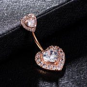 Joelle Cute Double Crystal Heart Belly Button Ring Stud