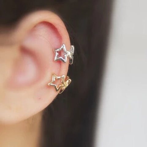 Helix Cartilage Jewelry Ring Hoop - Cute Ear Piercing Ideas - Charmed Stars Ear Cuff Earring at MyBodiArt.com in Silver or Gold