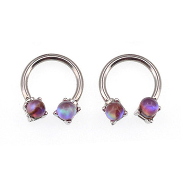 Skye Purple Cat Eye Opal Silver 14G Horseshoe Barbell - Septum Piercing Jewelry - Rook Hoop - Daith Earring - Cartilage - Tragus -MyBodiArt.com