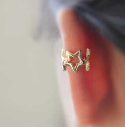 Cute Ear Piercing Ideas - Cartilage Helix Hoop Ring - Charmed Stars Ear Cuff Earring at MyBodiArt.com