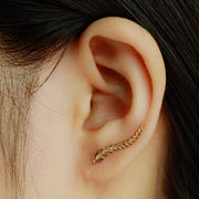 Ava Leaf Ear Climber Earrings, Feather Ear Crawler, Tribal Ear Jacket in Gold or Silver at MyBodiArt.com