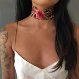 Arm Tattoos for Women - Casual Outfit Ideas for Summer 2017 - Julia Floral Flower Embroidered Fabric Choker Necklace at MyBodiArt.com