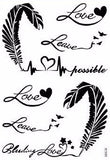 Evie Script Script Quotes Feather with Birds Temporary Tattoos at MyBodiArt.com