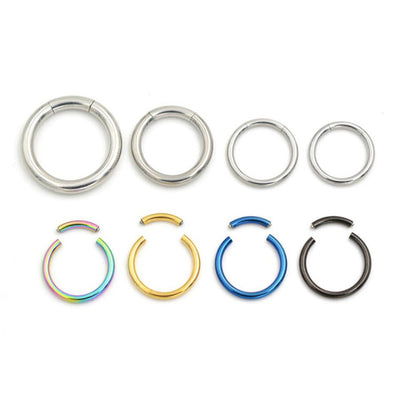 Segment Ring 16G for Septum Jewelry, Ear Piercing, Daith Rook Cartilage Helix Tragus Earring, Lip Hoop at MyBodiArt.com in Gold Silver Rainbow FIligree Black Blue