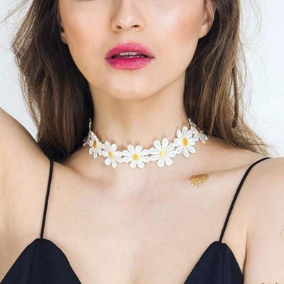 Casual Womens Summer Outfits 2017 - Daisy Floral Flower Choker Necklace at MyBodiArt.com