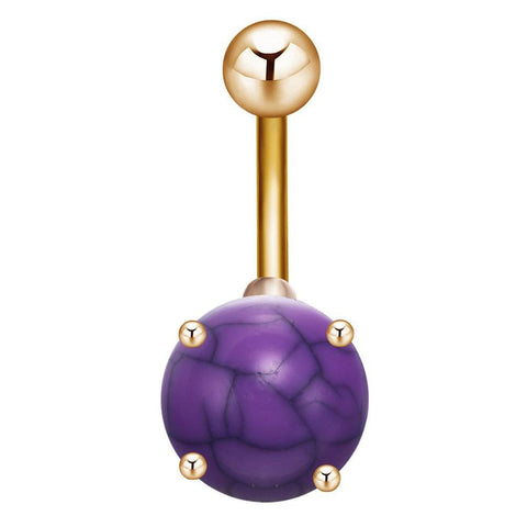 Purple Turquoise Gemstone Gold Belly Button Ring Stud