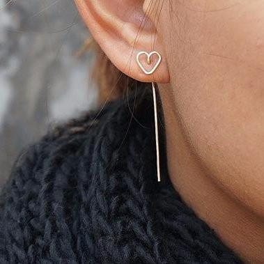 Simple Ear Piercing Ideas at MyBodiArt.com - Wired Heart Drop Earrings Minimalistic