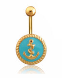 Gold Anchor Belly Button Ring Piercing Jewelry at MyBodiArt.com