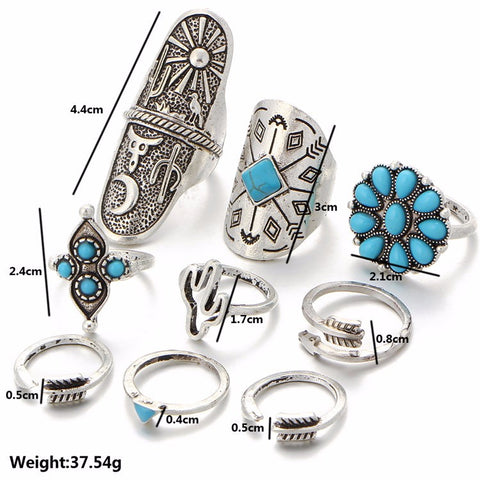 Sapphina Turquoise 9pcs Ring Set - Vintage Bohemian Boho Chic Style Natural Native American Beautiful Silver Antiqued Simple Midi at MyBodiArt.com