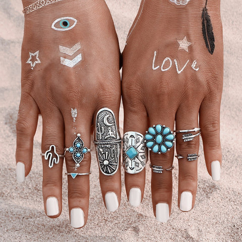 Fashion Rings - Turquoise 9pcs Ring Set - Vintage Bohemian Boho Chic Style Natural Native American Beautiful Silver Antiqued Simple Midi at MyBodiArt.com