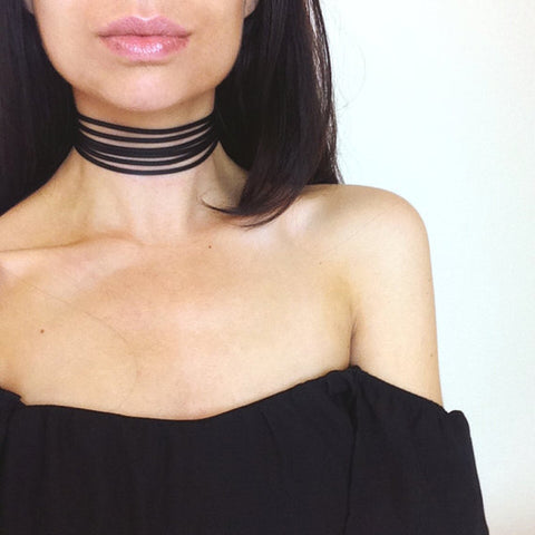 Womens Cute Black Party Date Club Outfit Ideas - Off the Shoulder Top -  Chloe Ribbed Choker Necklace at MyBodiArt.com