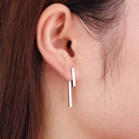 Maddy Simple Minimalist Long T Bar Earring Ear Jacket in Silver, Gold, or Rose Gold at MyBodiArt.com