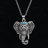 Elysia Boho Chic Bohemian Turquoise Elephant Necklace in Silver at MyBodiArt.com