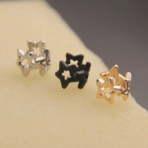 Charmed Stars Ear Cuff Earring at MyBodiArt.com - Silver, Black, Gold