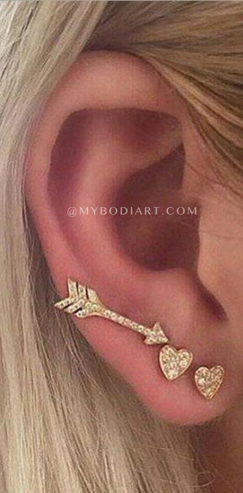 Cute Fun Cool Multiple Ear Piercing Placement Ideas for Women -  linda oreja piercing para mujeres -  www.MyBodiArt.com