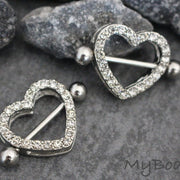 Heart Nipple Piercing Rings Pair Set at MyBodiArt in 14G with Swarovski Crystals Perfect for Valentines Day Gift