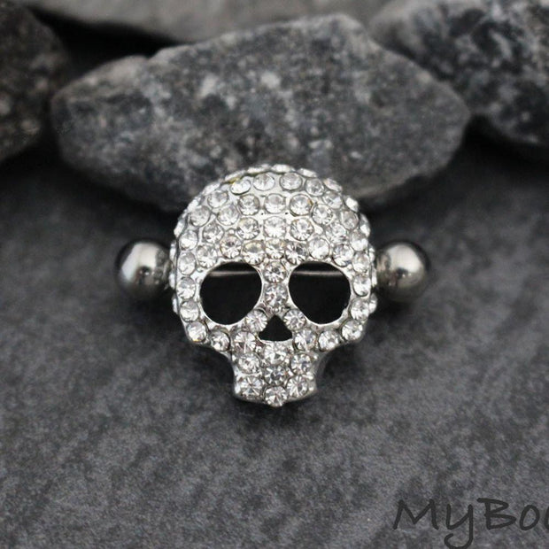 Crystal Skull Nipple Rings at MyBodiArt