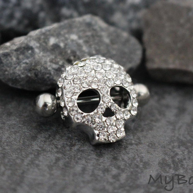 Day of the Dead Skull Cinco De Mayo Nipple Piercing Ring Jewelry at MyBodiArt