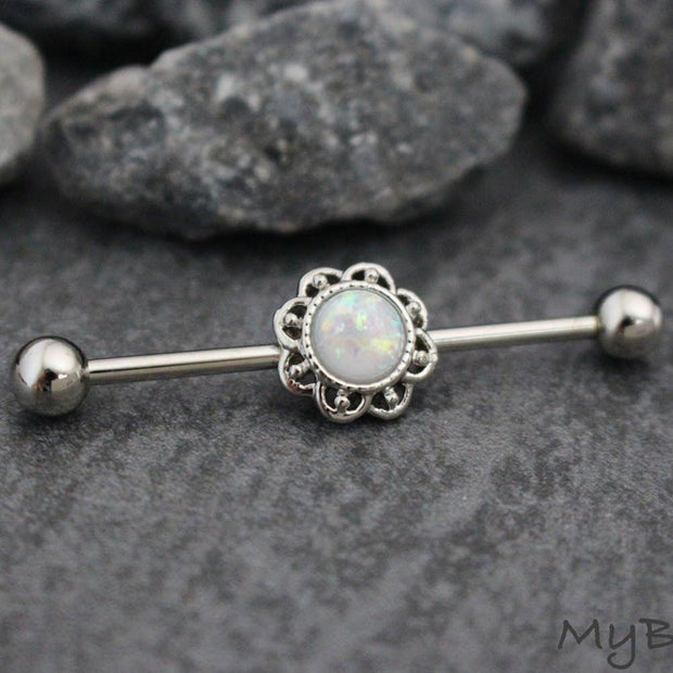 Opal Flower Industrial Piercing Jewelry at MyBodiArt