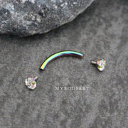 Cute Rainbow Crystal Rook Ear Piercing Jewelry or Eyebrow Lip Ring 16G - www.MyBodiArt.com