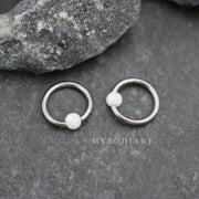 Cute Opal Ball Captive Bead Ring for Septum Piercing Jewelry, Ear Cartilage Helix Daith Rook Earring - www.MyBodiArt.com