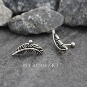 Cute Leaf Ear Piercing Jewelry Ideas for Cartilage, Helix, Conch -  hoja linda pluma cartílago oreja piercing ideas - www.MyBodiArt.com