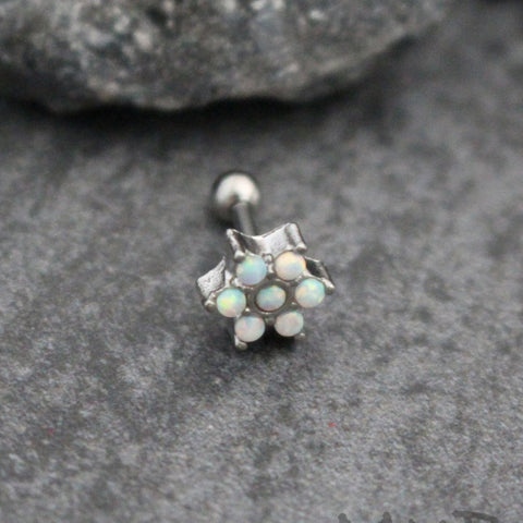 Opal Flower Ear Piercing Stud at MyBodiArt