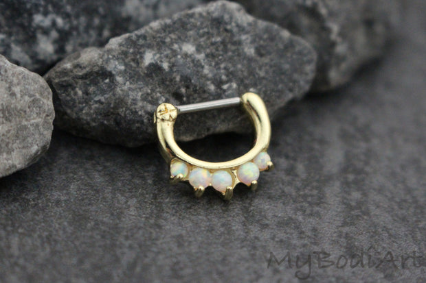 Opal Septum Ring in 16G Gold