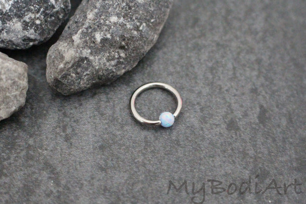 Opal Helix Piercing Jewelry Hoop at MyBodiArt