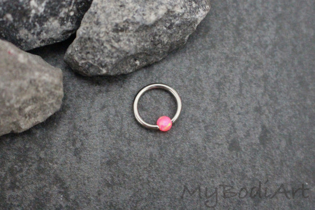 Opal Rook Piercing Ring at MyBodiArt