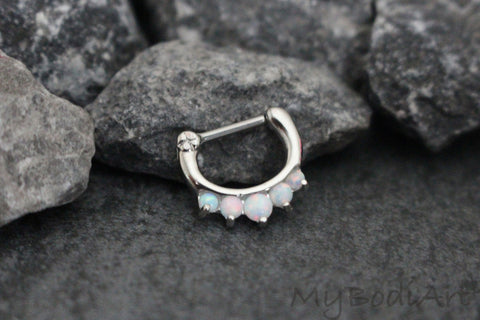 White Opal Septum Clicker in 16G at MyBodiArt