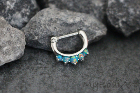 Blue Opal Septum Ring at MyBodiArt