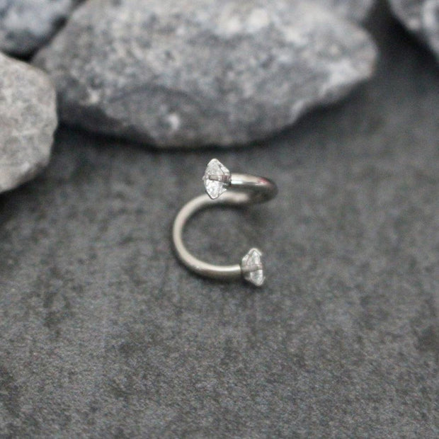 Swarovski Crystal Spiral Lip Piercing, Cartilage Ring, Helix Earring, Tragus Hoop at MyBodiArt.com