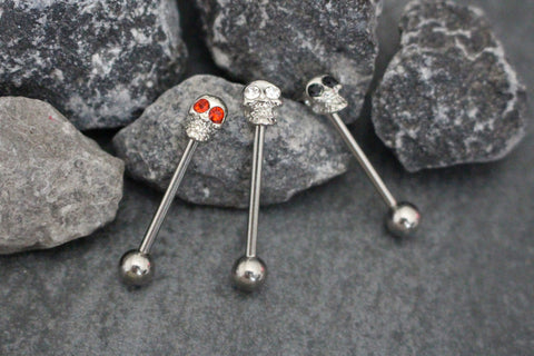 Tongue Piercing Jewelry Ring Candy Crystal Skull - 14G Barbell Surgical Stainless Steel - MyBodiArt.com