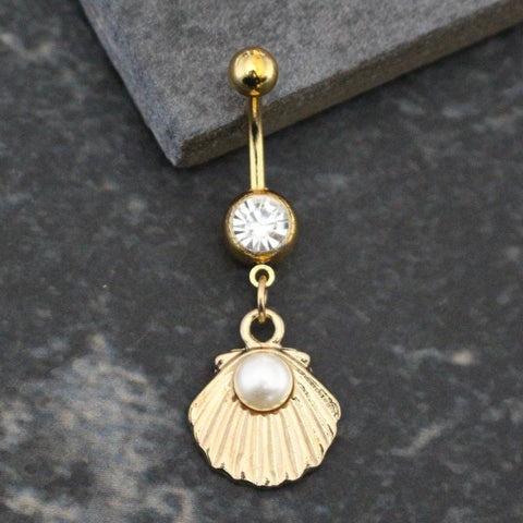 Pearly Seashell Pearl Gold Dangle Belly Button Ring 16G at MyBodiArt.com