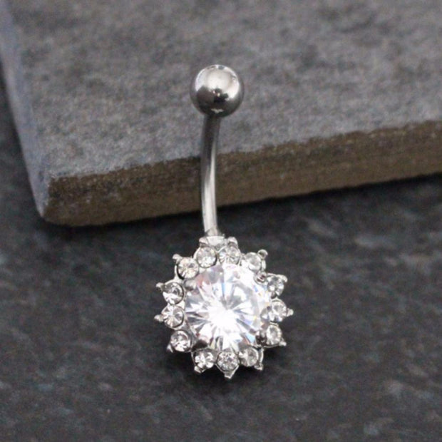 Calla Crystal Flower Floral Belly Button Piercing in 14G Silver at MyBodiArt.com